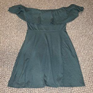 Off shoulder Charlotte Russe green dress - S